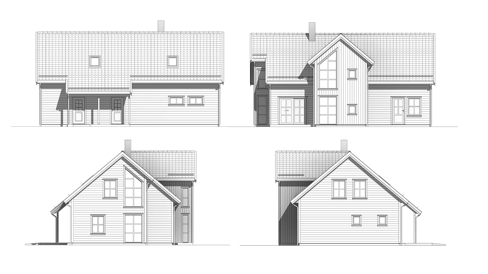 Fasadetegning av Helgero. Tradisjonell og moderne bolig