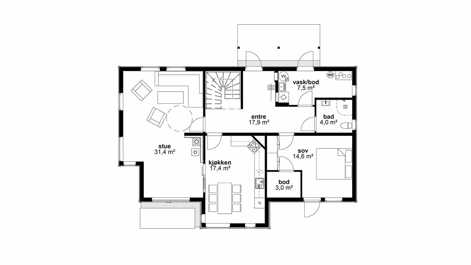 Plantegning av 1. etasje - Helgero. Tradisjonell og moderne bolig
