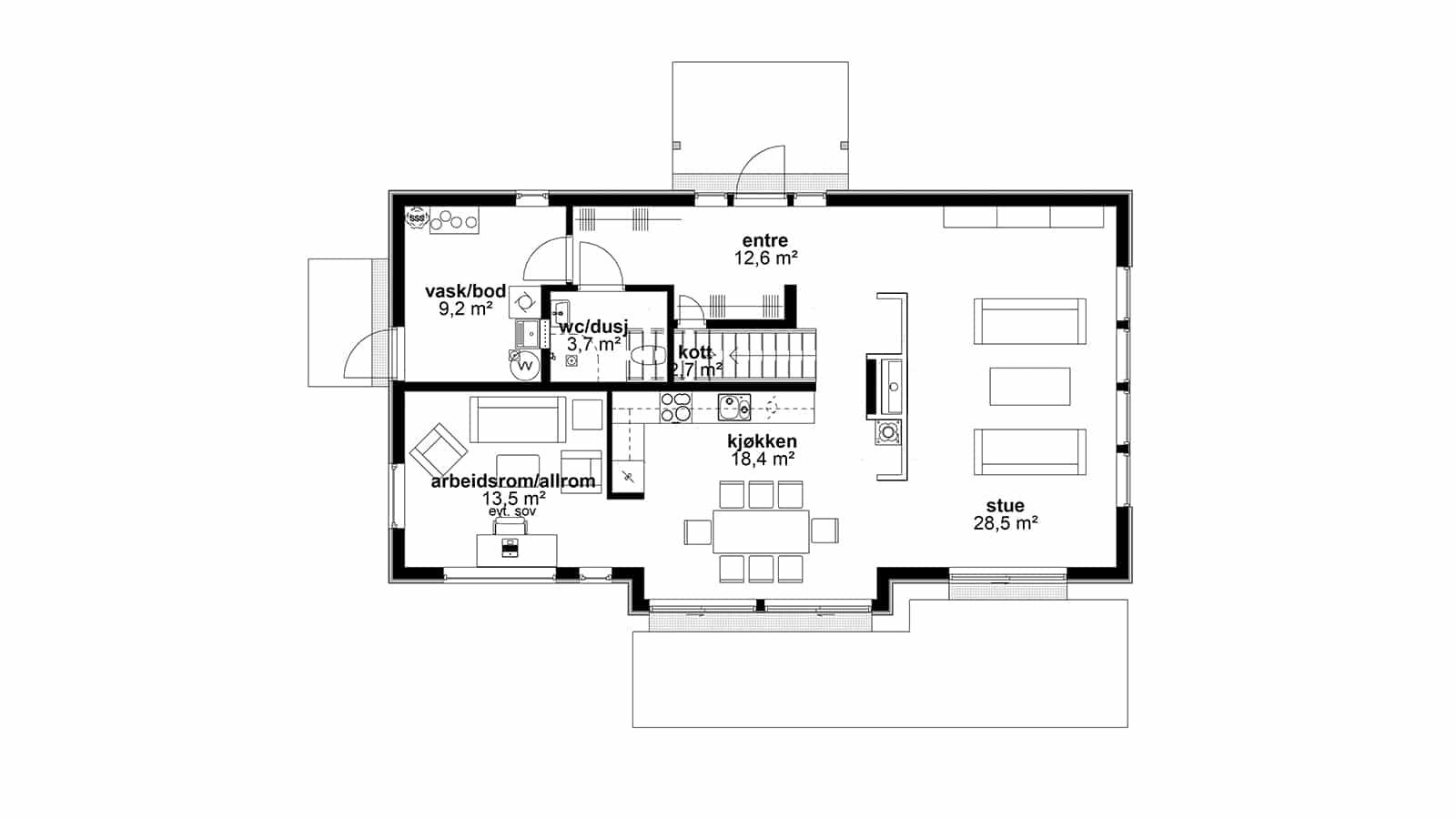 Plantegning av 1.etasje - Mandel
