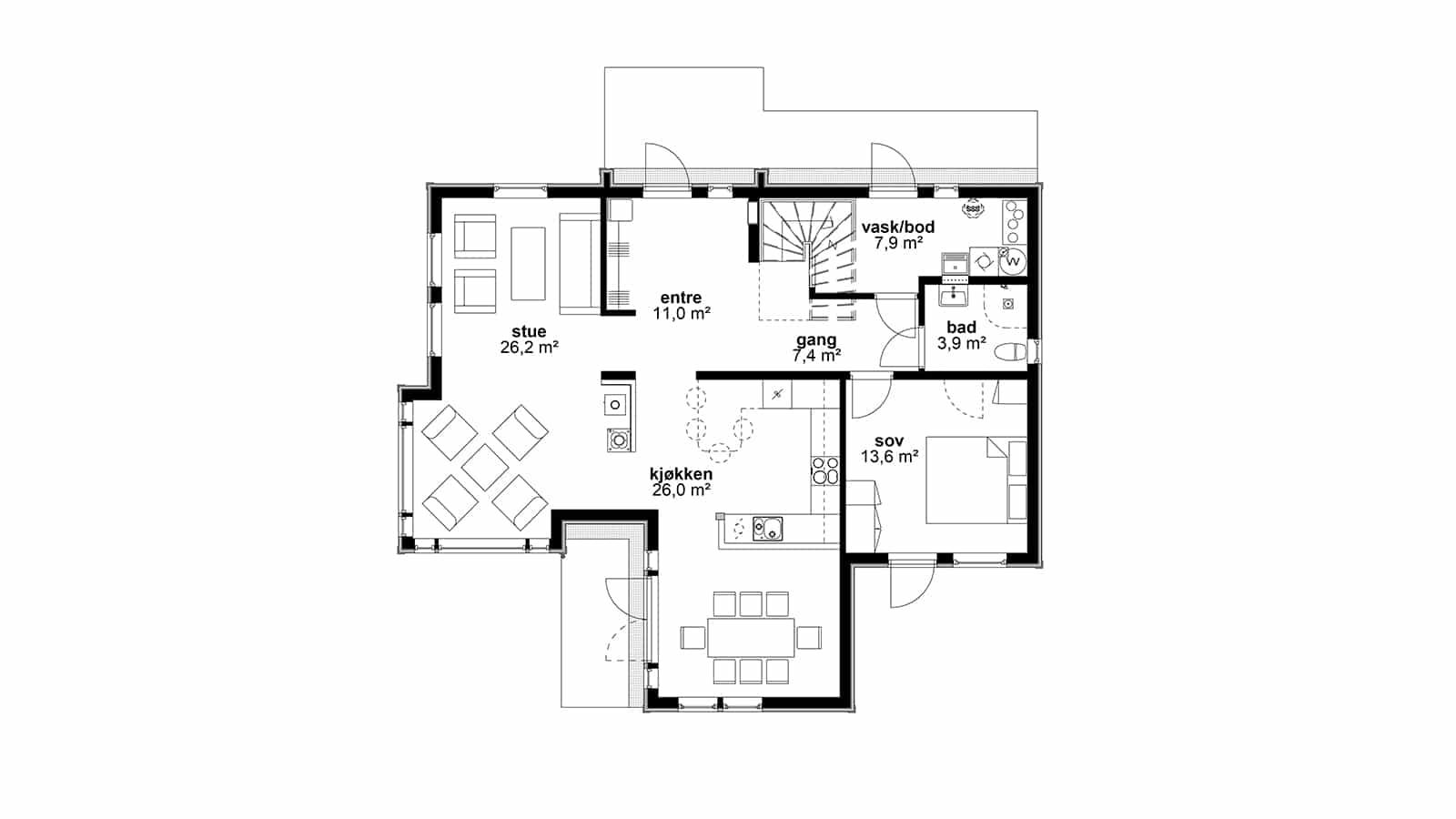 Plantegning av 1.etasje - Peiskos