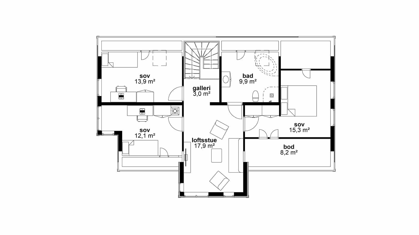 Plantegning av 2.etasje - Helgero. Tradisjonell og moderne bolig