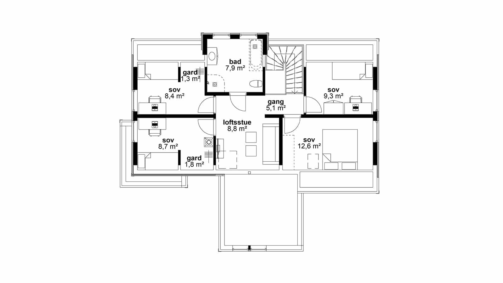 Plantegning av 2.etasje - Peiskos