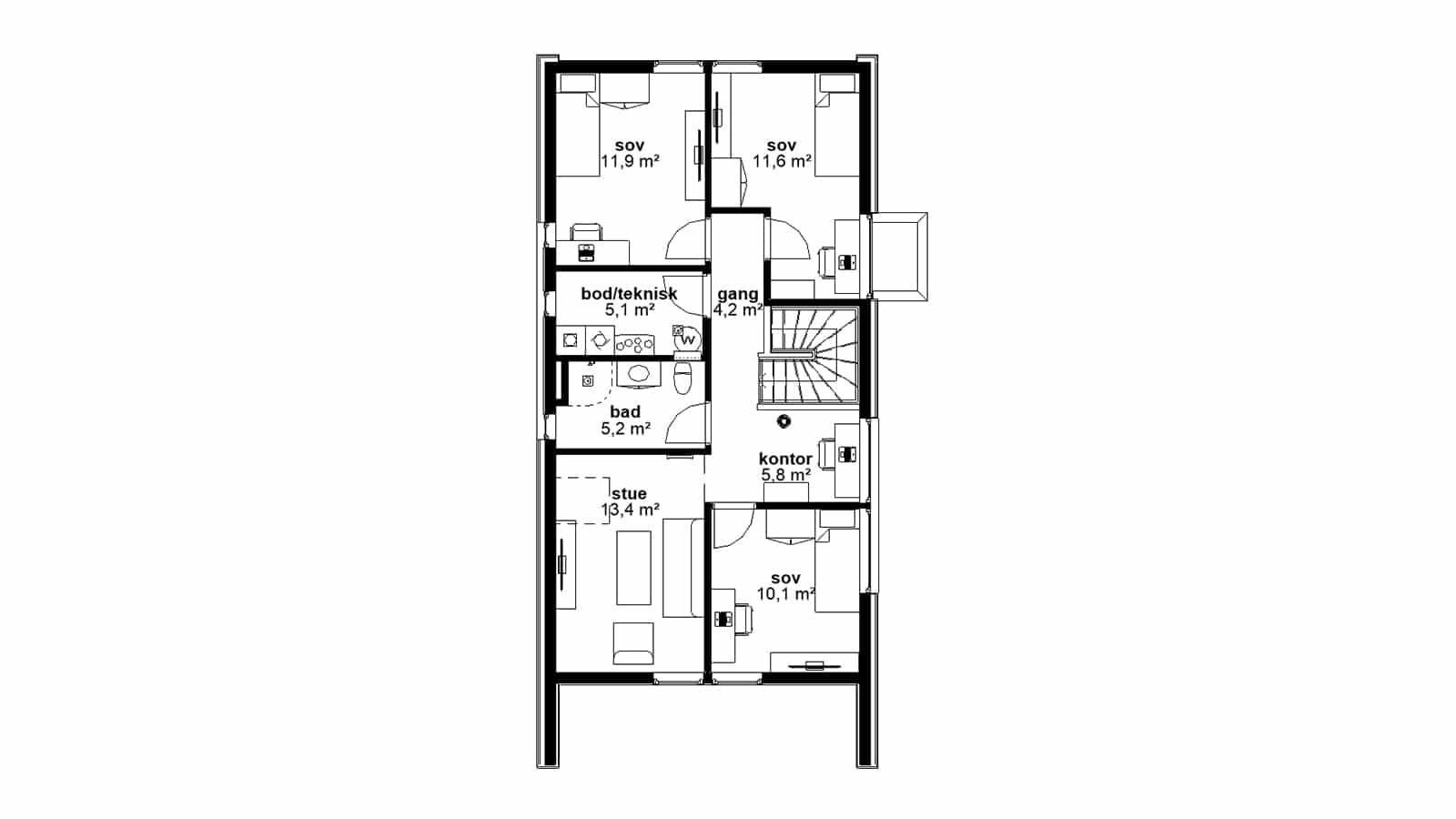Plantegning av 2.etasje - Sans