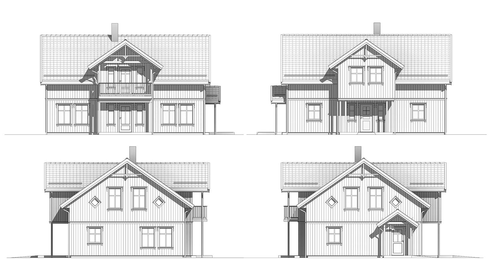 Fasade tegninger av Eplehage - klassisk bolig
