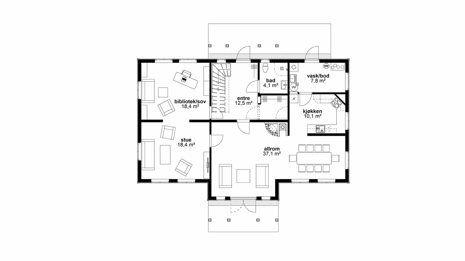 Plantegning av 1.etasje - Herskapelig bolig