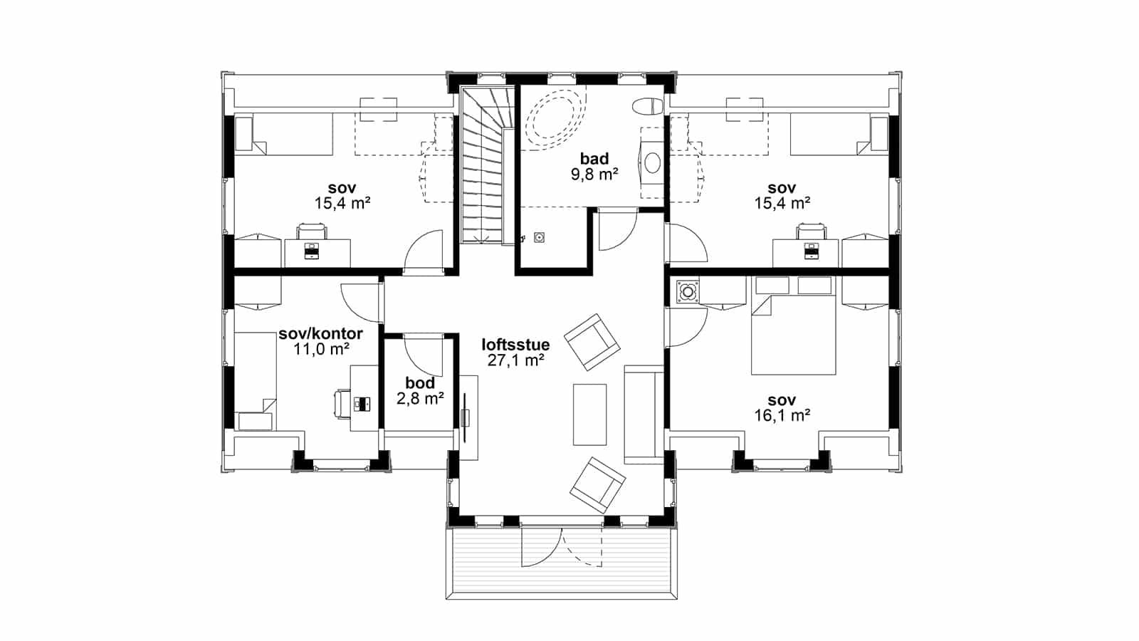 Plantegning av 2.etasje - Herskapelig bolig