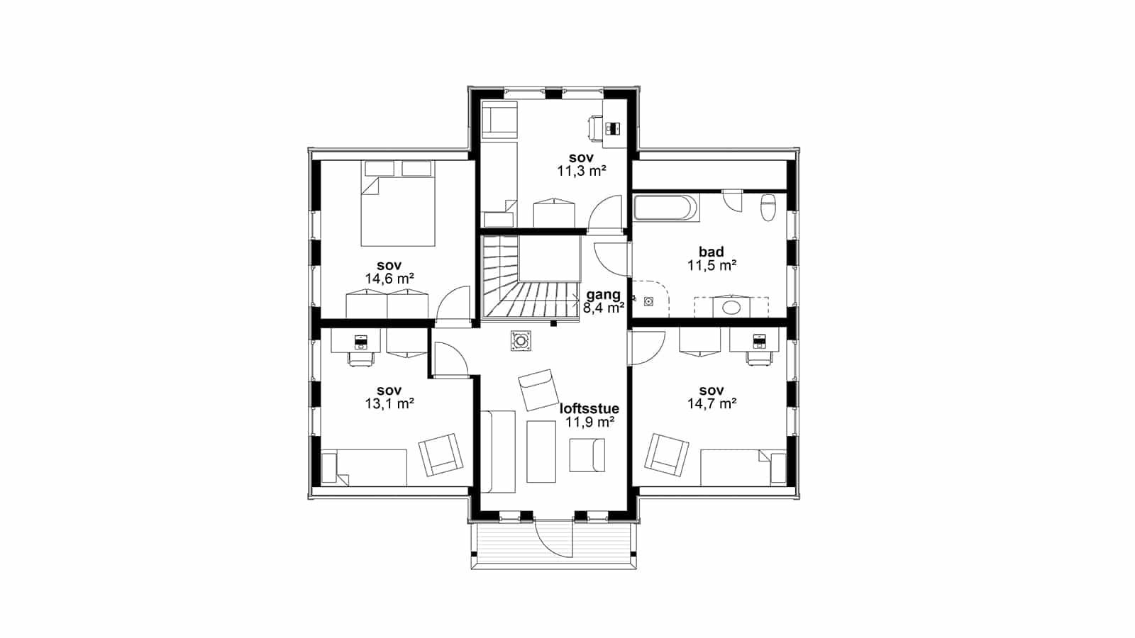 Plantegning av 1. etasje Eplehage - klassisk bolig