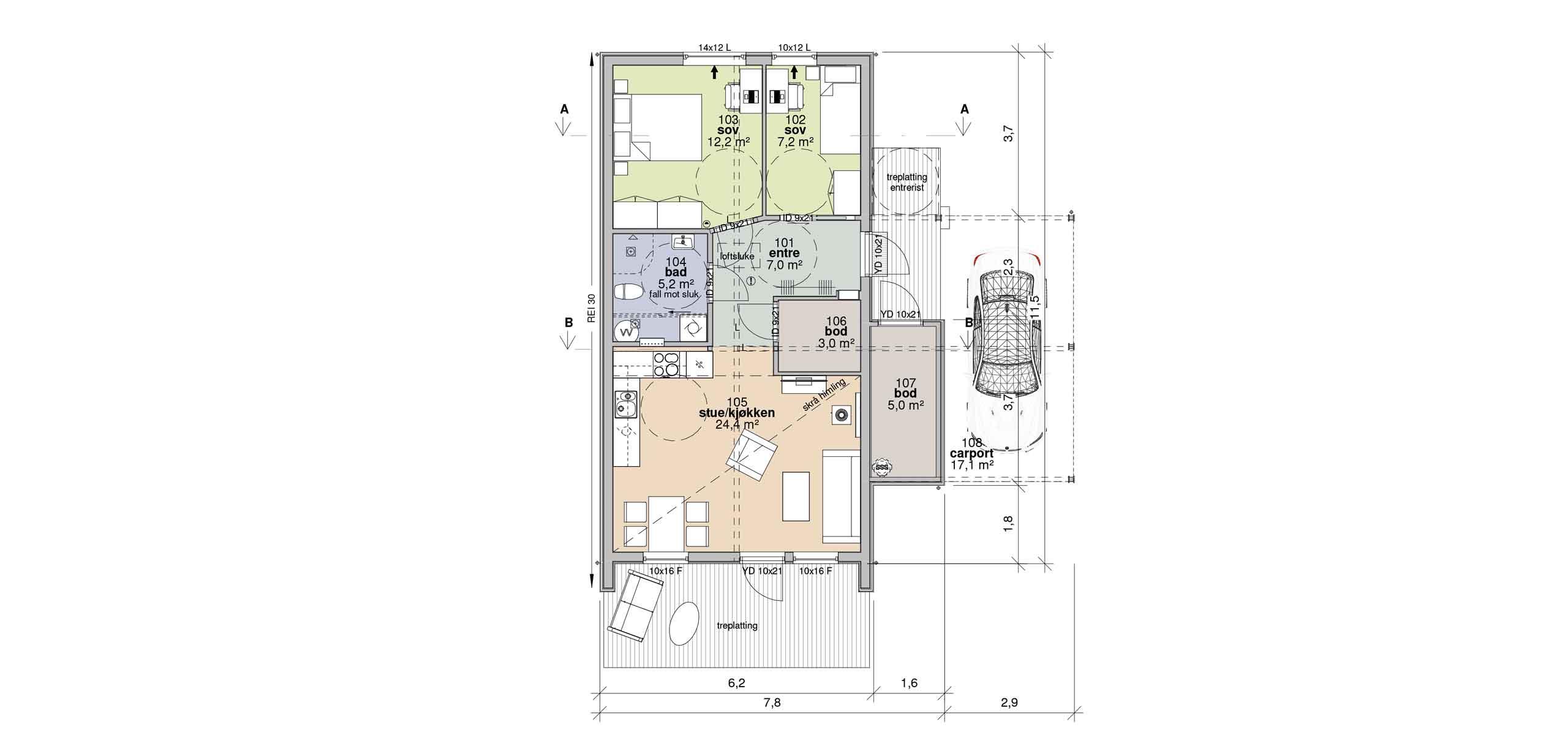 Plan Bolig A m/Carport