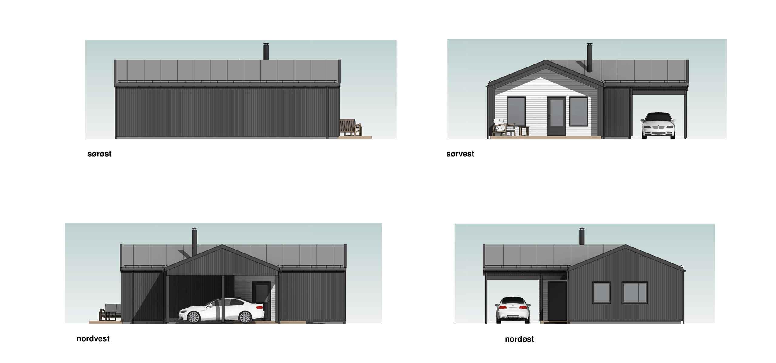 Fasade bolig A m/carport